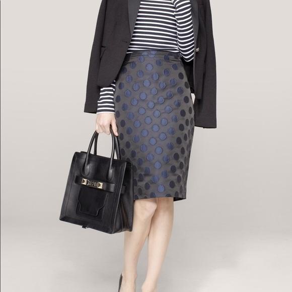 f5cea0de52 J. Crew Skirts | Jcrew Womens Blue Polkadot Brocade Pencil Skirt ...